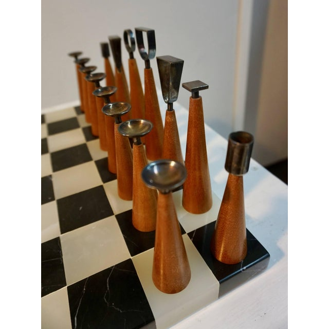 Mid Century Minimalist Chess Set - Set of 33 For Sale - Image 4 of 6