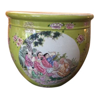 Early 20th Century Chinese Hand-Painted Fish Bowl Planter For Sale