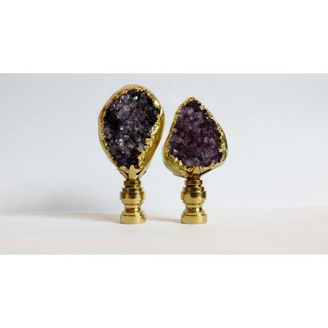 Amethyst Cluster Lamp Finials - A Pair - Image 2 of 3