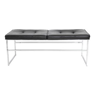 Bench in Chrome and Leather by Steelcase For Sale
