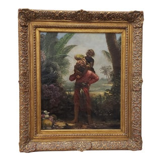 """19th Century """"Sinbad With the Old Man of the Sea on His Back"""" Original Illustration Oil Painting For Sale"""