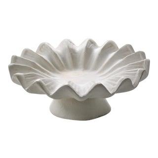 Plaster Ruffled Edge Bowl For Sale