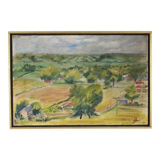 Carolyn Shine Signed Mid-Century Oil on Canvas Landscape of Kentucky For Sale