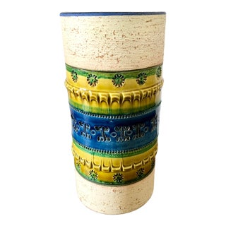 Mid 20th Century Aldo Londi Bitossi Blue Green Cylindrical Italian Pottery Vase For Sale