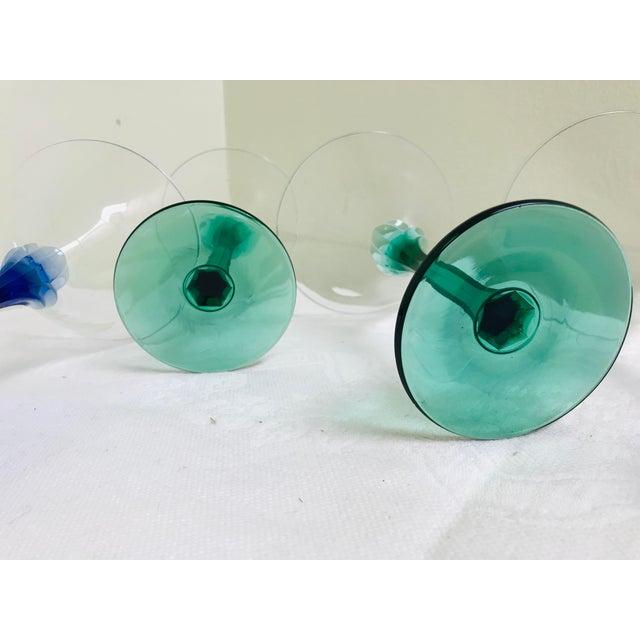 1960s Vintage Blue & Green Stem Martini Glasses - Set of 6 For Sale - Image 5 of 6