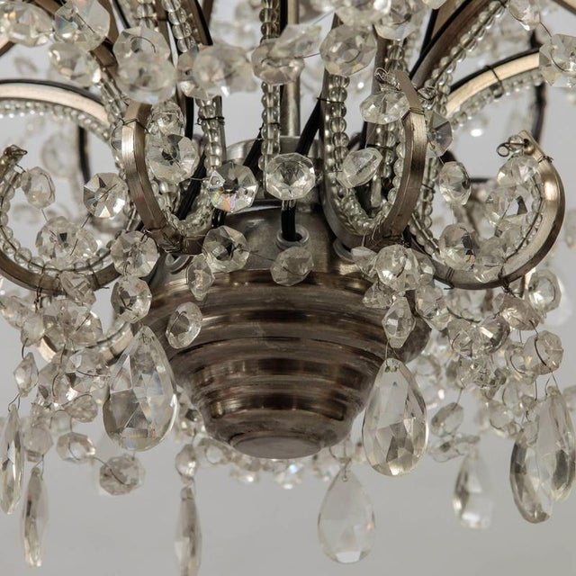 Sixteen Arm Silver Metal Highly Beaded French Chandelier For Sale - Image 4 of 9