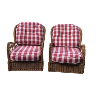 Late 20th Century Vintage McGuire Lounge Chairs - a Pair For Sale