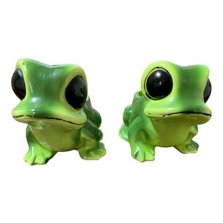 Vintage Big Eye Tree Frog Planters - a Pair For Sale