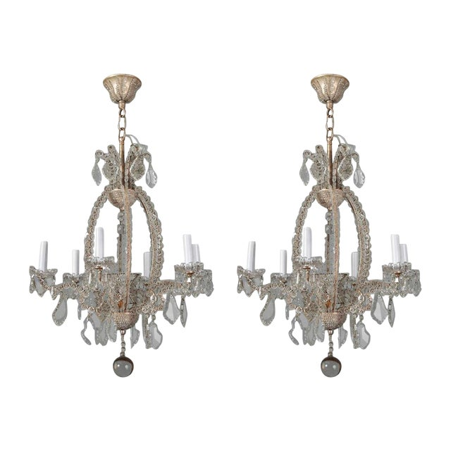 Italian Chandeliers With Round Beads and Original Beaded Canopies - a Pair For Sale