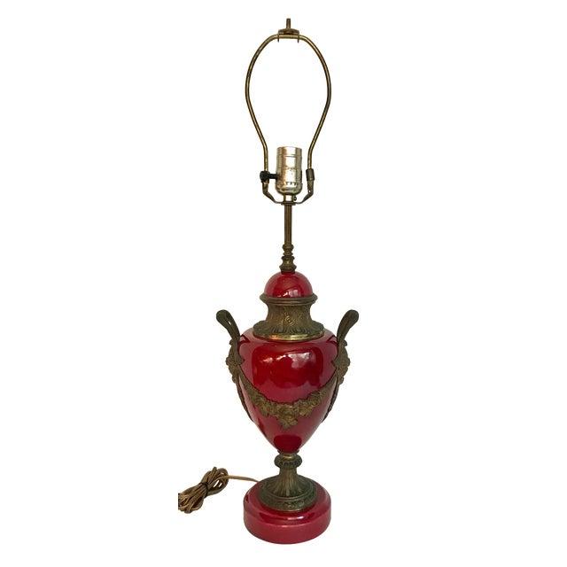 Antique Neoclassical Louis XVI Ceramic and Bronze Lamp For Sale