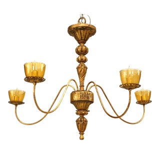 French Louis XVI Gilt Metal and Wood Chandelier For Sale
