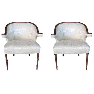 A Shapely Pair of English Regency-Inspired Mahogany Salon Chairs For Sale