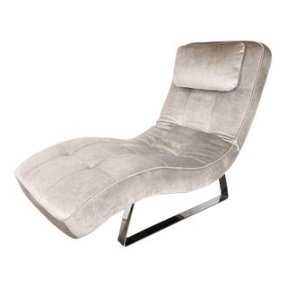 Modern Sculptural Chaise with Chrome Base in Smoked Platinum Velvet