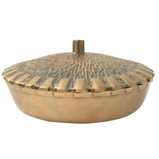 Brass Bowl with Faux-Thatch Lid - Image 1 of 8