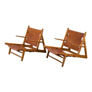 Pair of Borge Mogensen Hunting Chairs for Fredericia For Sale