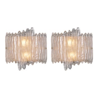 Murano Glass Organic Wall Sconces - a Pair For Sale