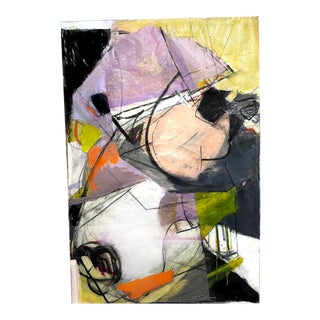Large Vertical Abstract Collage Painting in Lavender, Orange, Pink, Black For Sale