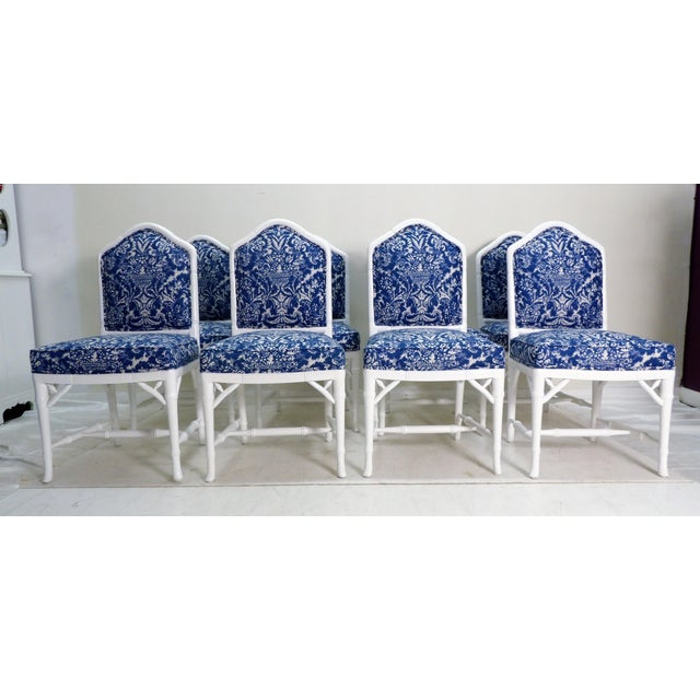 Blue Faux Bamboo Dining Chairs - Set of 8 For Sale - Image 8 of 8