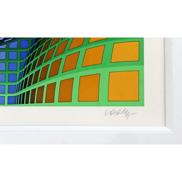 Lithograph Mid-Century Modern Large Pop Op Art Framed Lithograph by Victor Vasarely 275/300 For Sale - Image 7 of 8