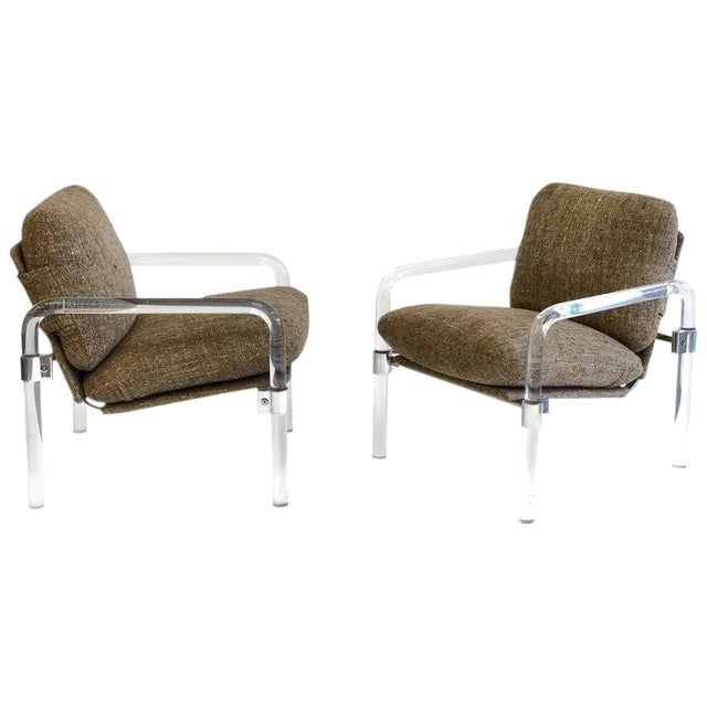 """""""Pipe Line Series 2"""" Acrylic and Chrome Lounge Chairs by Jeff Messerschmidt - a Pair For Sale"""