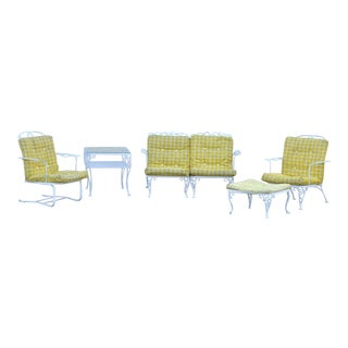 5 Pc Vintage Woodard Chantilly Rose Iron Patio Set Table Loveseat Chair Ottoman