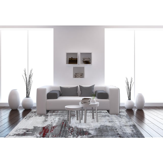 """Contemporary Gray & Red Abstract Rug - 6'7"""" x 9'7"""" - Image 8 of 8"""