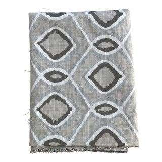 Designer Grey Ikat Woven Linen Fabric For Sale