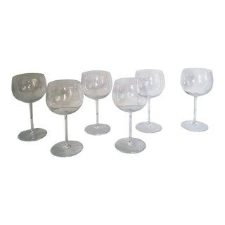 Vintage Crystal Wine Goblets Signed Val Saint-Lambert - Set of 6 For Sale