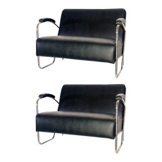 Mid-Century Thonet Style Black Leather Sofas - A Pair
