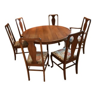 1930s Traditional Round Walnut Dining Set - 7 Pieces For Sale