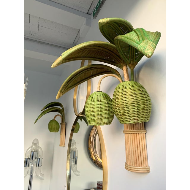 Pair of Rattan Palm Tree Sconces. France, 1980s For Sale - Image 4 of 11