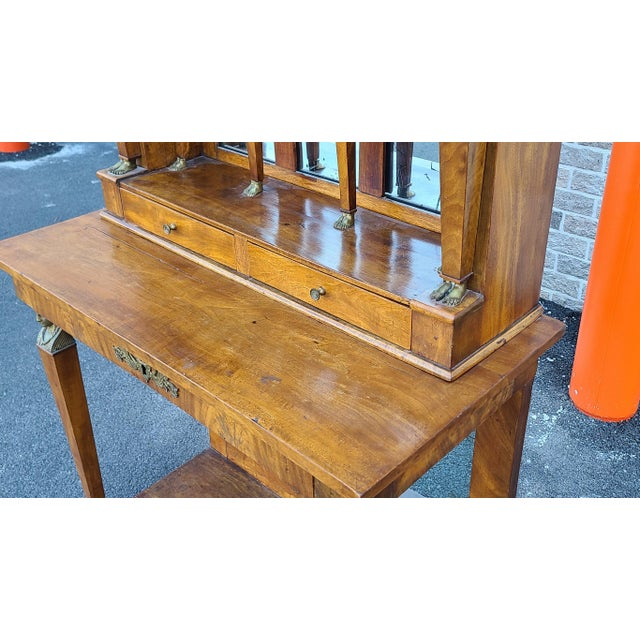 Antique English Regency Amboyna Egyptian Revival Pier Console Table W/ Upper Arched Mirror Top C1850 For Sale - Image 4 of 12