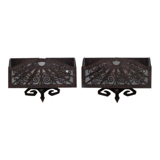 French Deco Era Fer Forge Wall Pocket Sconces - a Pair For Sale