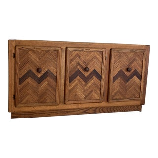 Vintage Chevron Inlay Multi-Toned Credenza For Sale