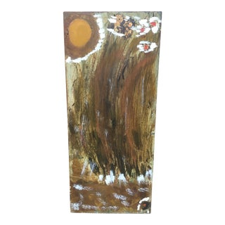 Vintage Mid-Century Modern Abstract Expressionism Oil on Wood Painting For Sale