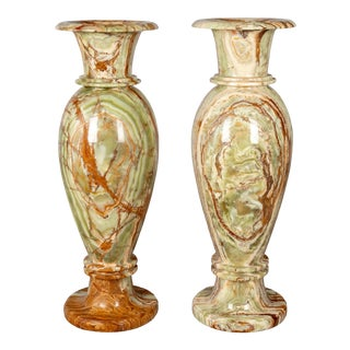 Pair of Large Onyx Neo Classic Urns For Sale
