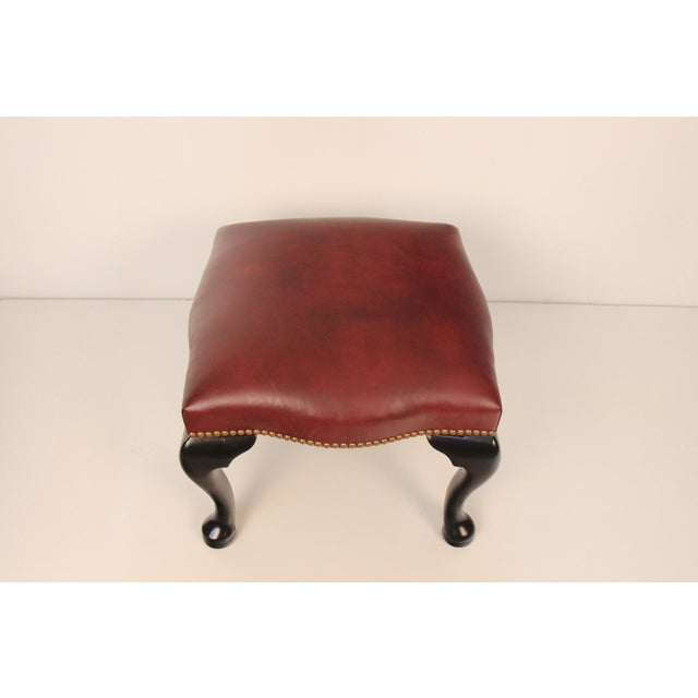 Black Lacquer & Burgundy Leather Benches - A Pair For Sale - Image 4 of 5