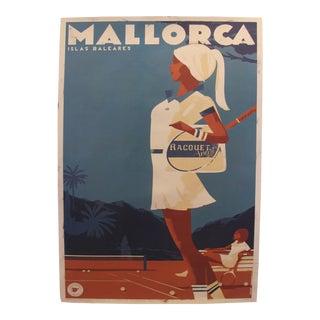 2018 Minimalist Danish Modern Poster, Mallorca Islas Baleares - Racquet Girl For Sale