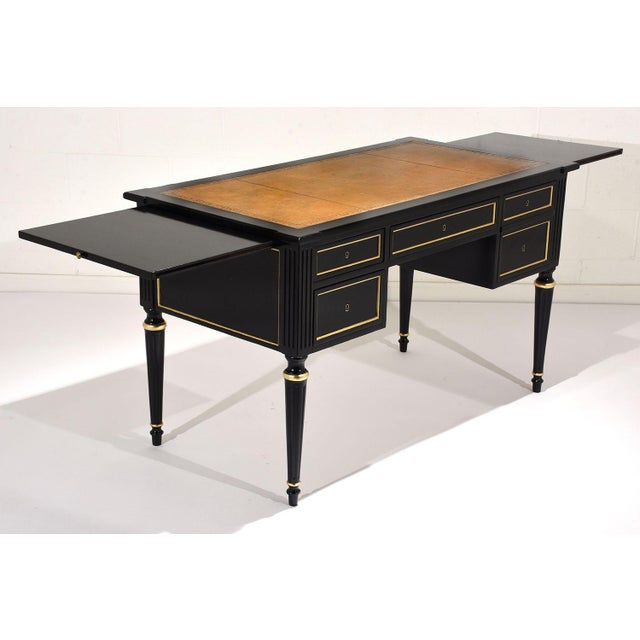 French Louis XVI-style Ebonized Desk - Image 5 of 10