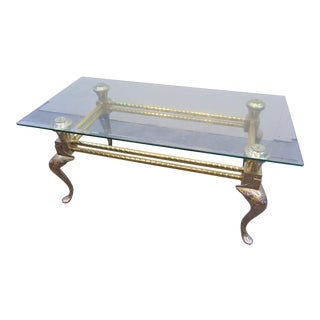 Mid Century Engraved Brass & Glass Coffee Table For Sale