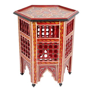 Moroccan Hand Painted Side Table in Red For Sale