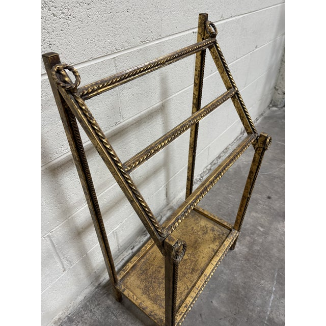 Metal Gold Leaf Hollywood Regency Iron Towel Rack For Sale - Image 7 of 10