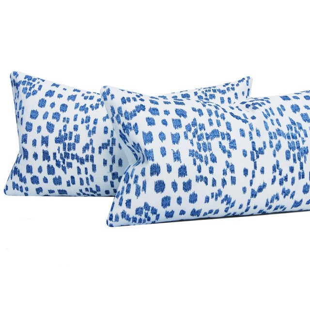 Contemporary Brunschwig & Fils Les Touches Embroidered Canton Blue Lumbar Pillow Cover For Sale - Image 3 of 7