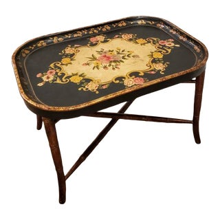 Polychrome Chinoiserie Craquelure Tray Coffee Table For Sale