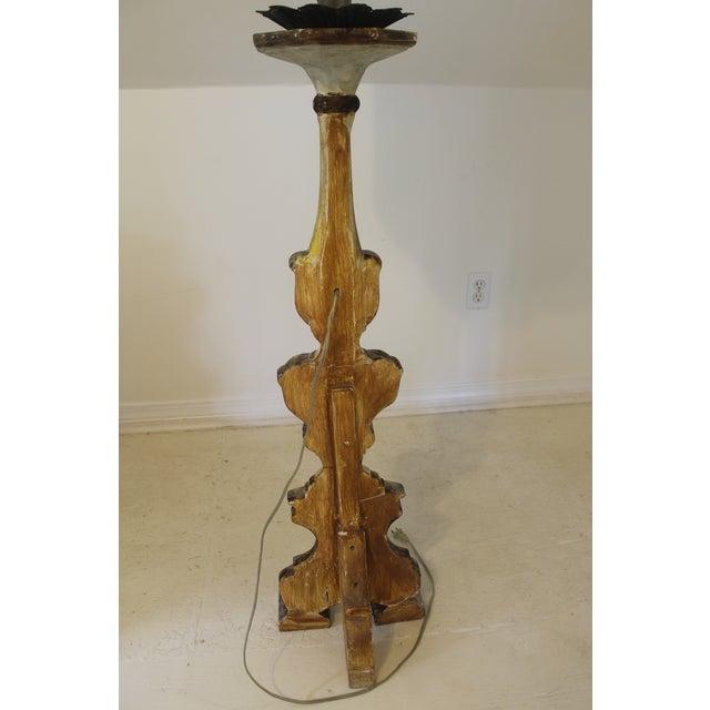 Baroque Italian Style Gilt Wood Floor Lamp For Sale - Image 10 of 12