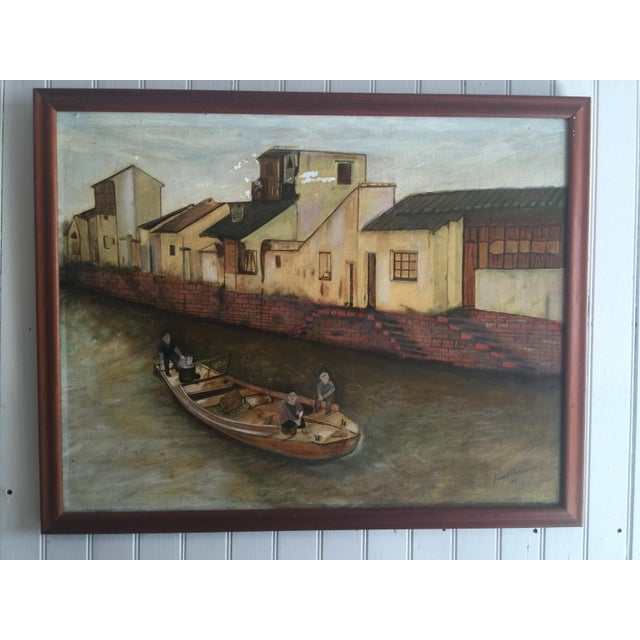 Pretty painting of Chinese children floating down a sleepy canal. Oil on Canvas. Painted by Joseph Feldmen. Please note:...