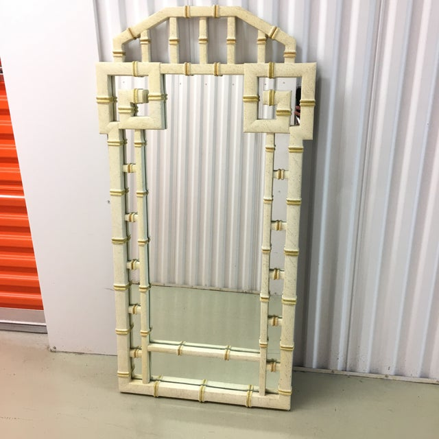 Glass Vintage LaBarge Style White and Gold Greek Key Faux Bamboo Mirror For Sale - Image 7 of 7