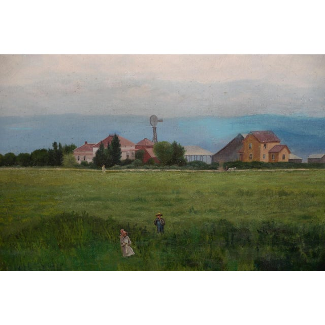Blue Prather Fresno Family Farm, Prather, Ca Historical Oil Painting 19th Century For Sale - Image 8 of 11