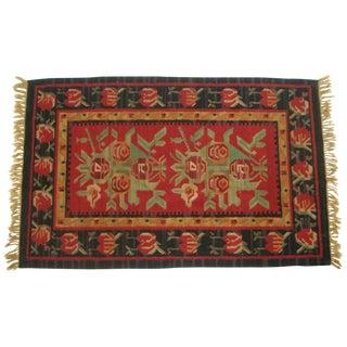 Vintage Turkish Flat-Weave Red Floral Wool Floor Rug For Sale