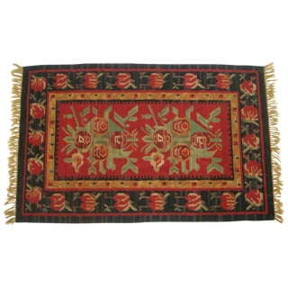Vintage Turkish Flat-Weave Red Wool Rug For Sale